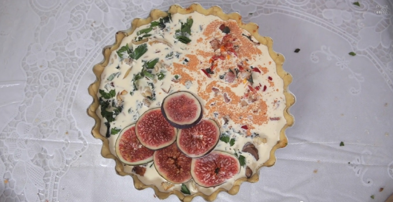 Pour on all three thirds the savoury custard decorate the second